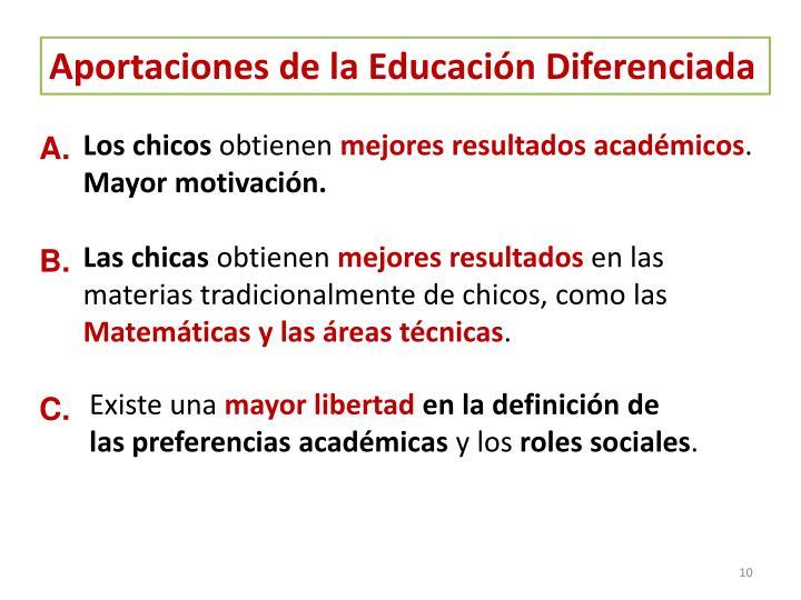 Aportaciones de la Educación Diferenciada