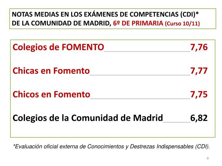 NOTAS MEDIAS EN LOS EXÁMENES DE COMPETENCIAS (CDI)*