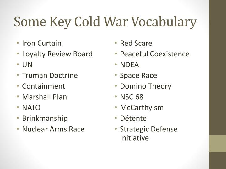 Some Key Cold War Vocabulary