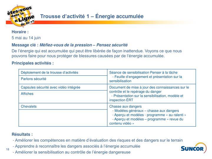Trousse d'activité 1 – Énergie accumulée
