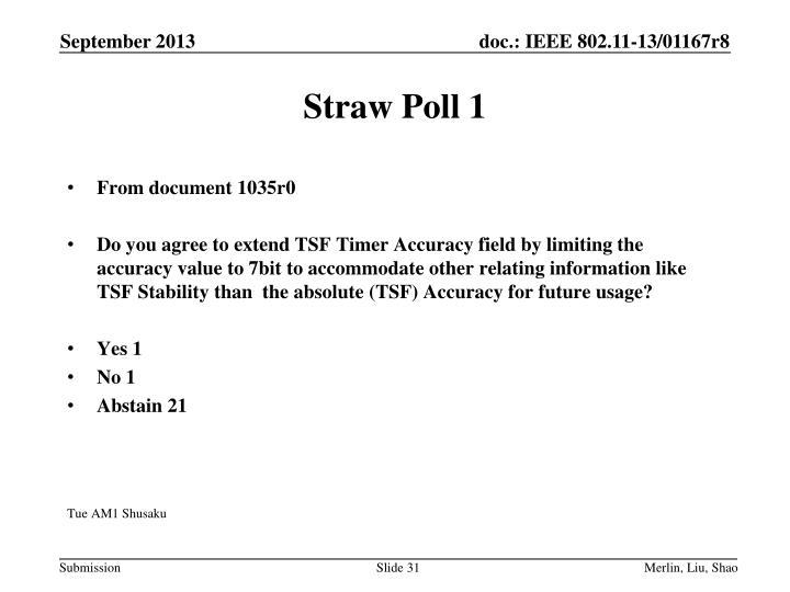 Straw Poll 1