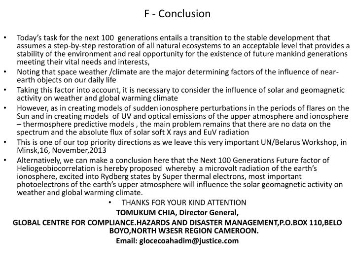 F - Conclusion