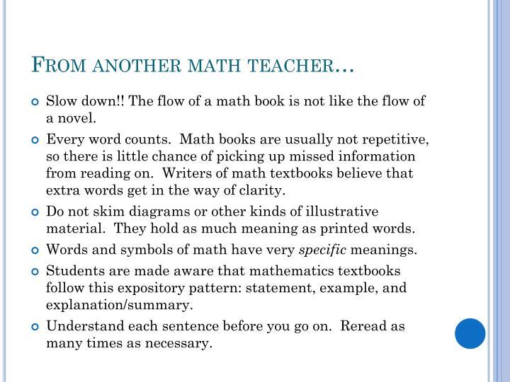 From another math teacher…