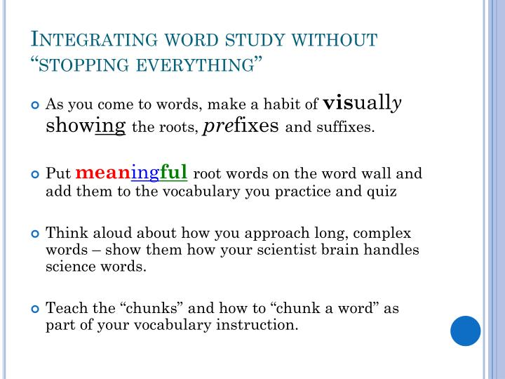 "Integrating word study without ""stopping everything"""