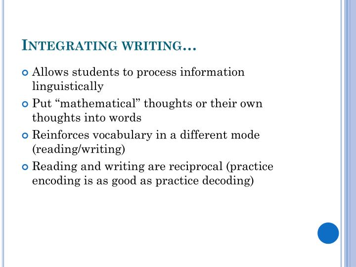 Integrating writing…
