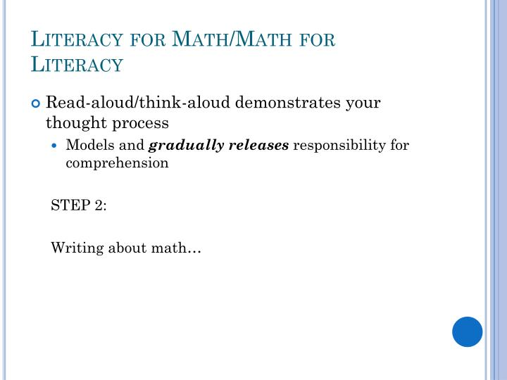 Literacy for Math/Math for Literacy