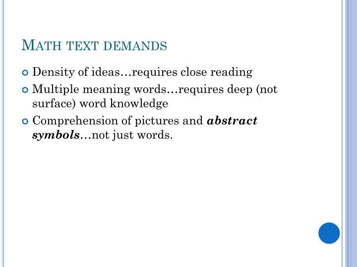 Math text demands