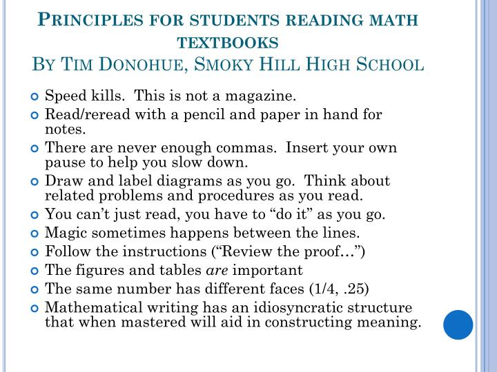 Principles for students reading math textbooks