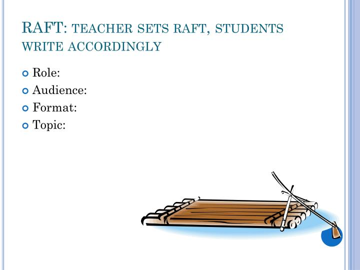 RAFT: teacher sets raft, students write accordingly