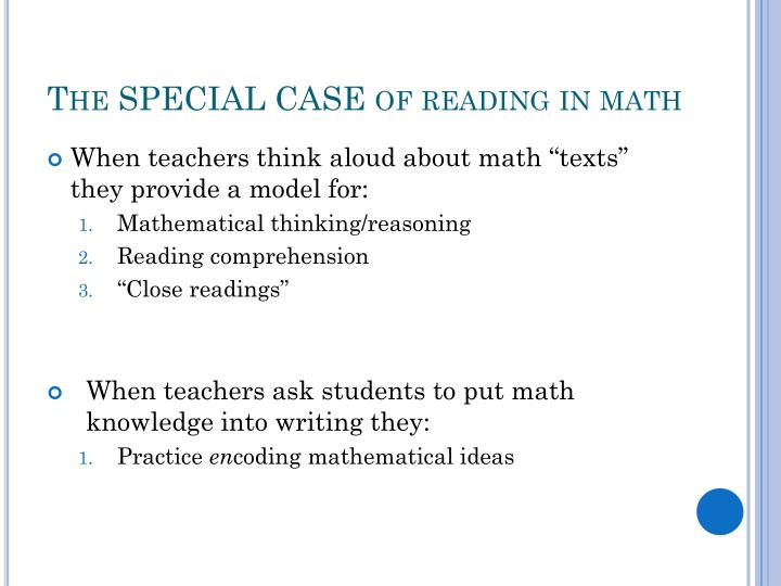 The SPECIAL CASE of reading in math