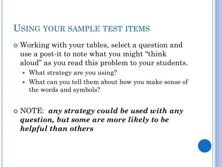 Using your sample test items