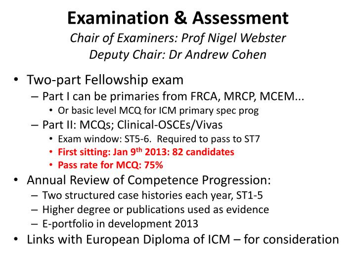 Examination & Assessment