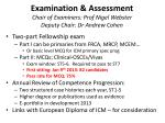 examination assessment chair of examiners prof nigel webster deputy chair dr andrew cohen