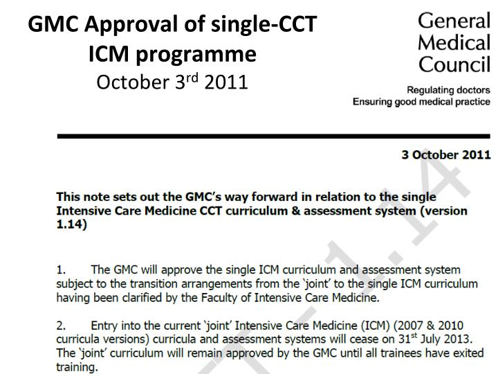 GMC Approval of single-CCT ICM programme