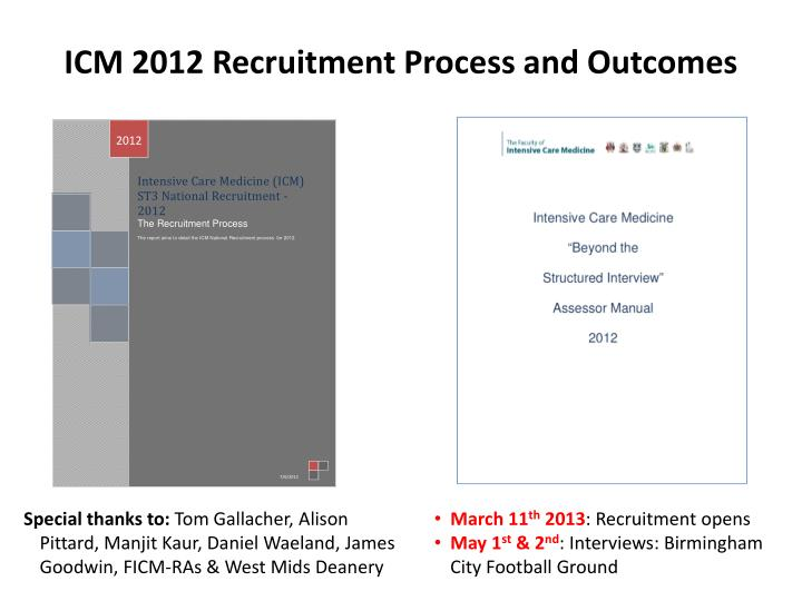 ICM 2012 Recruitment Process and Outcomes