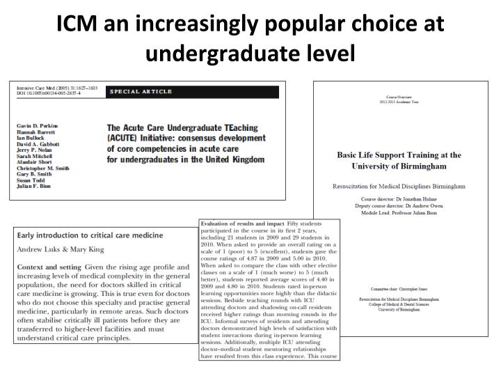 ICM an increasingly popular choice at undergraduate level