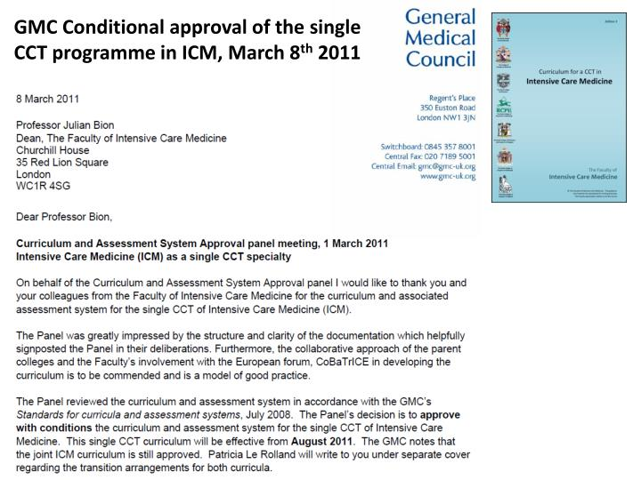 GMC Conditional approval of the single CCT programme in ICM, March 8