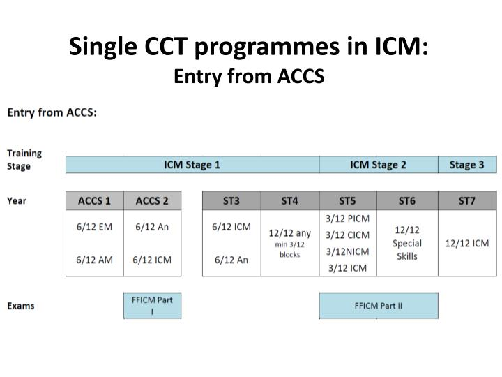 Single CCT programmes in ICM: