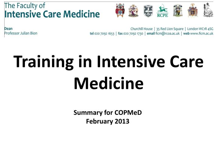 Training in Intensive Care Medicine