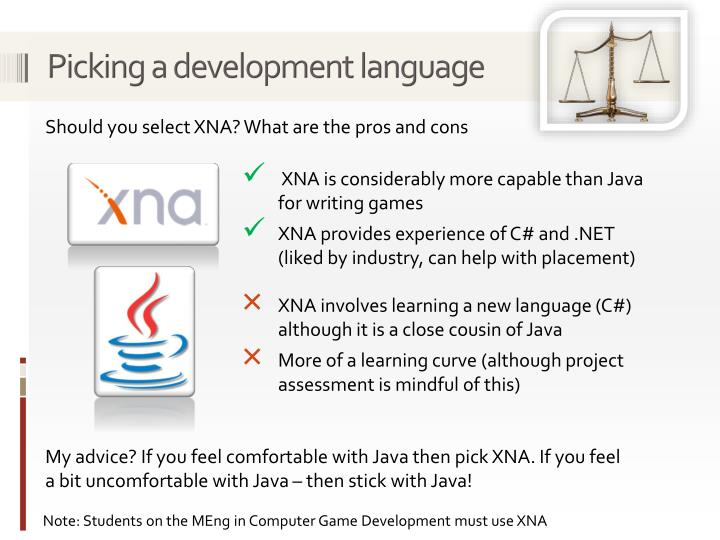 Picking a development language