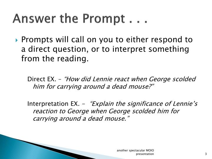 Answer the Prompt . . .