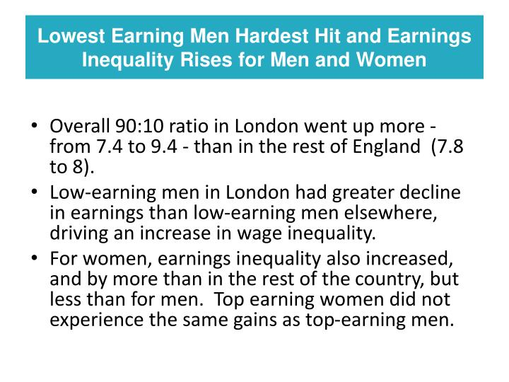 Lowest Earning Men Hardest Hit and Earnings Inequality Rises for Men and Women