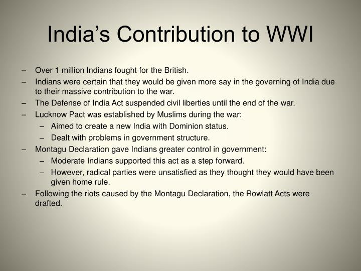 India's Contribution to WWI