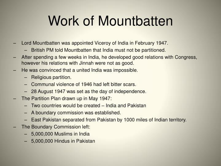 Work of Mountbatten