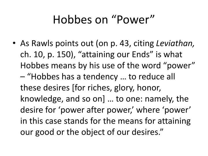 """Hobbes on """"Power"""""""