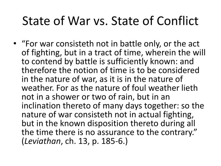 State of War vs. State of Conflict