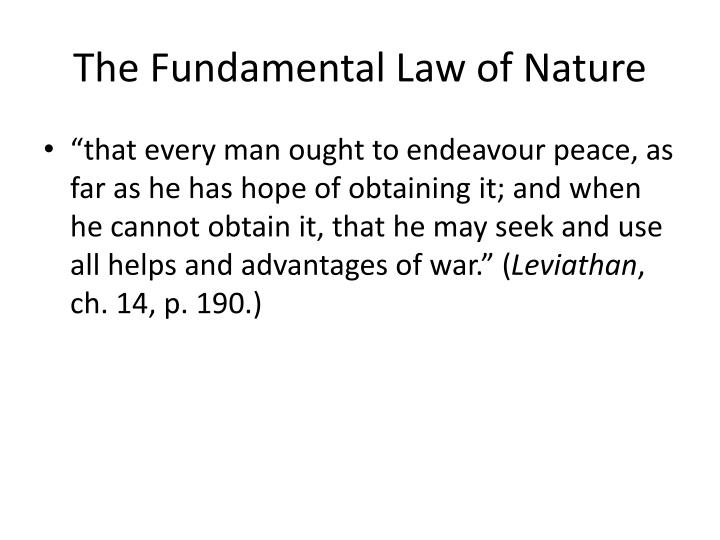 The Fundamental Law of Nature