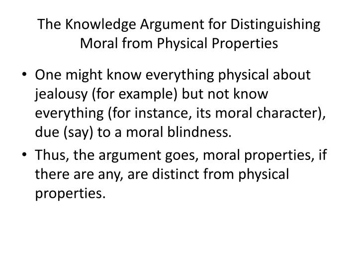 The Knowledge Argument for Distinguishing Moral from Physical Properties