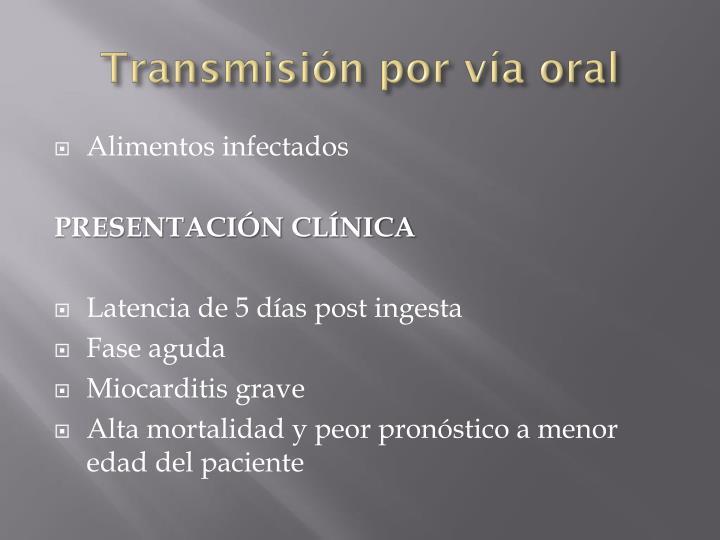 Transmisión por vía oral