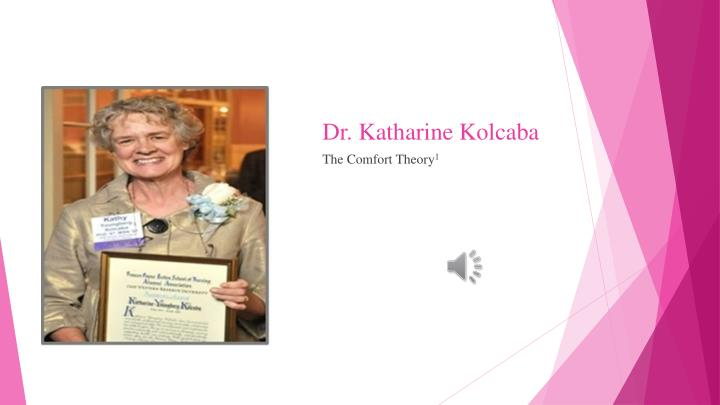 biography of katharine kolcaba Free essay: katharine kolcaba's theory of comfort in the early part of the 20th century, comfort was the central goal of nursing and medicine comfort was.