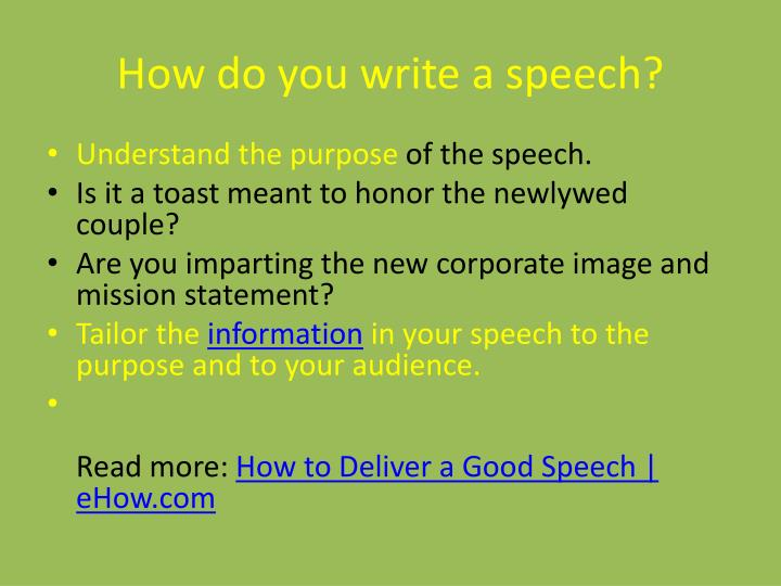 How do you write a speech?