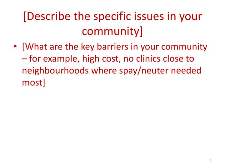 [Describe the specific issues in your community]