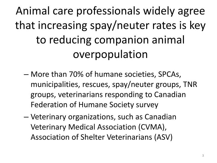 Animal care professionals widely agree that increasing spay/neuter rates is key to reducing companion animal overpopulation