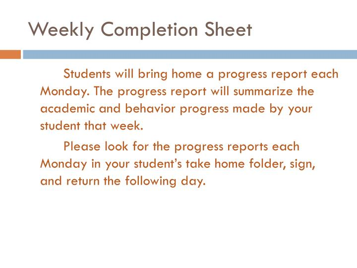 Weekly Completion Sheet