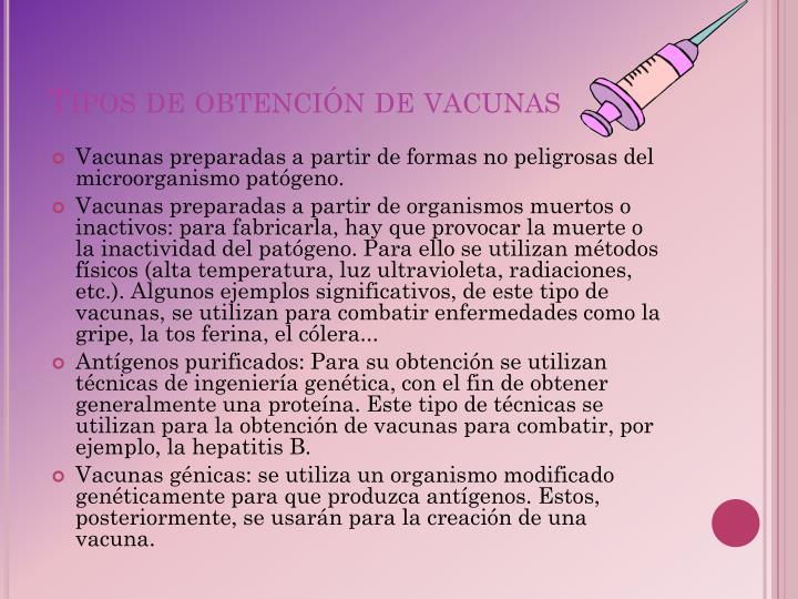 Tipos de obtención de vacunas