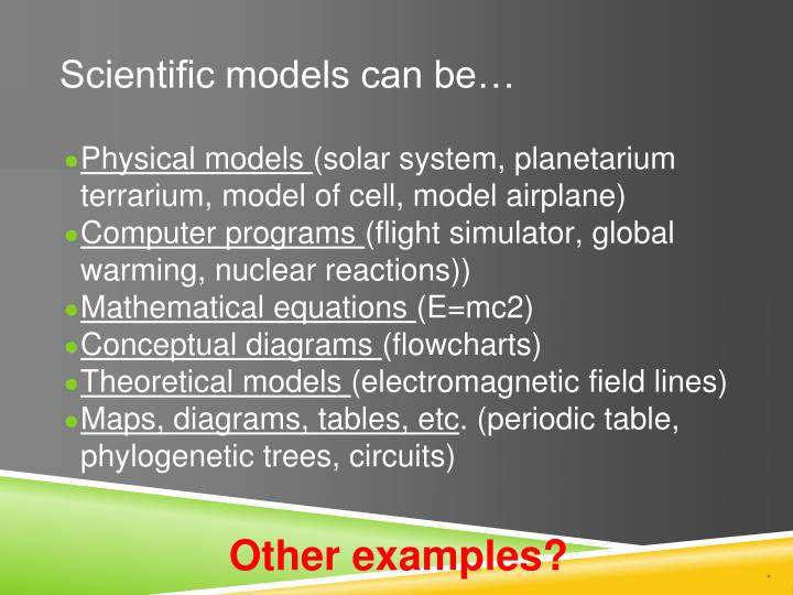 Scientific models can be…