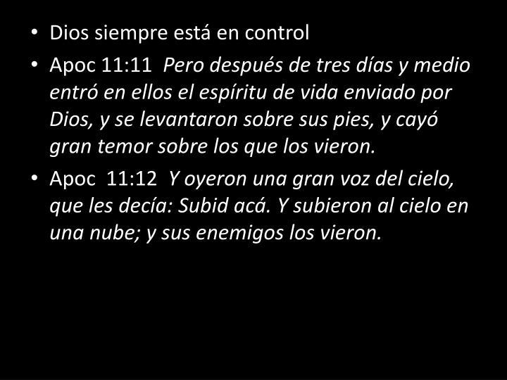 Dios siempre está en control