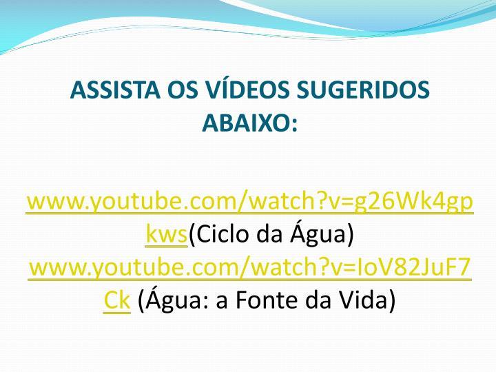 ASSISTA OS VDEOS SUGERIDOS ABAIXO: