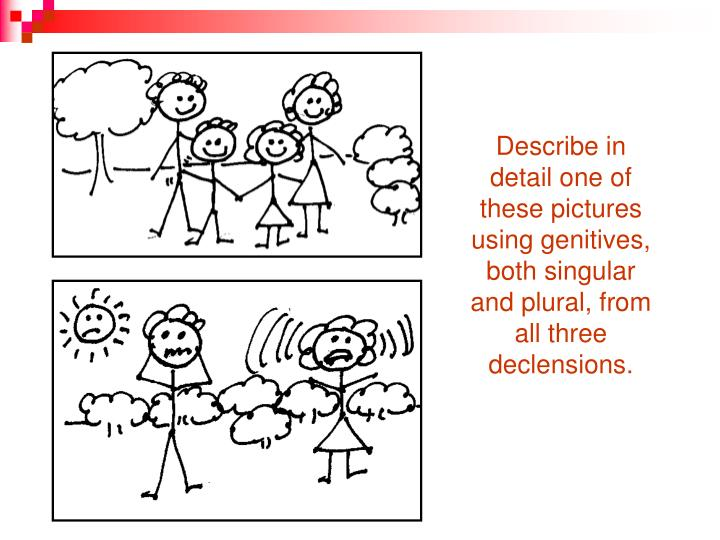 Describe in detail one of these pictures using genitives, both singular and plural, from all three declensions.