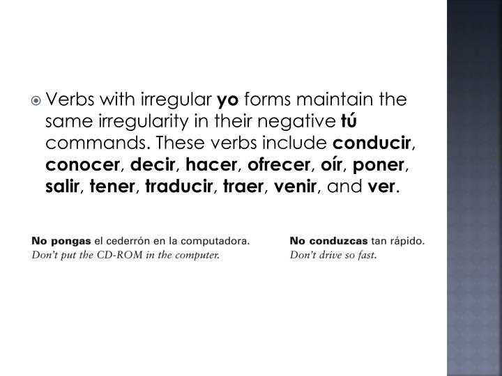 Verbs with irregular
