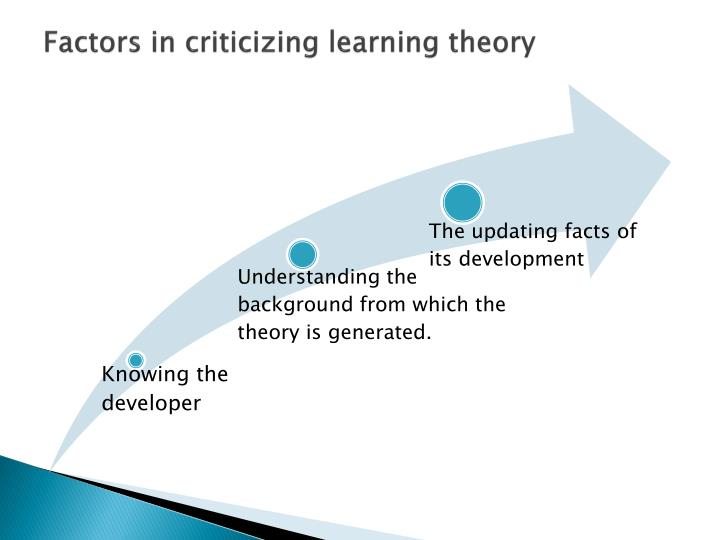 Factors in criticizing learning theory