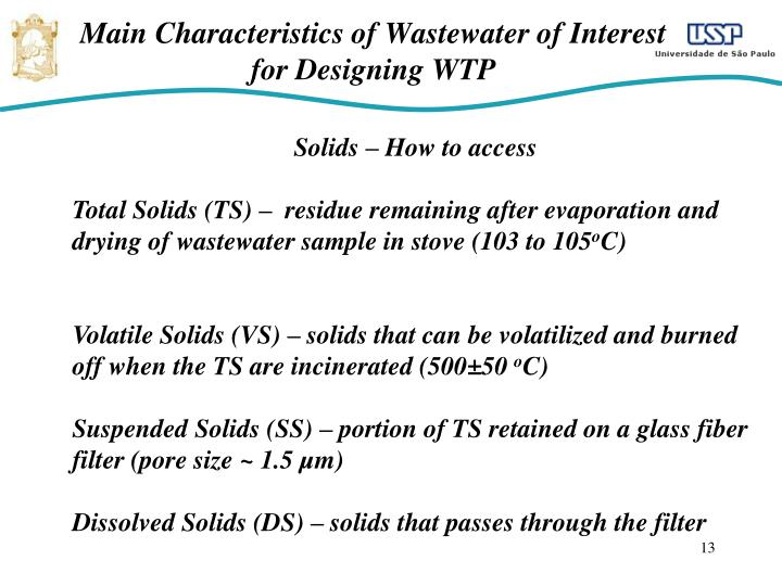 Main Characteristics of Wastewater of Interest