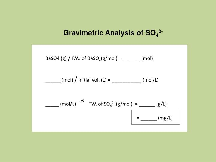 Gravimetric Analysis of SO