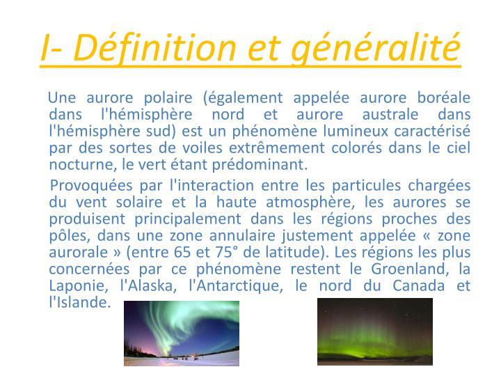 I- Dfinition et gnralit
