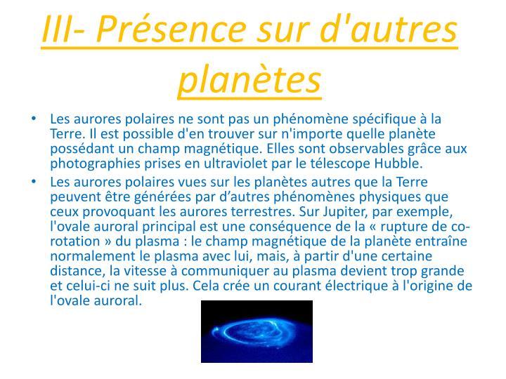 III- Prsence