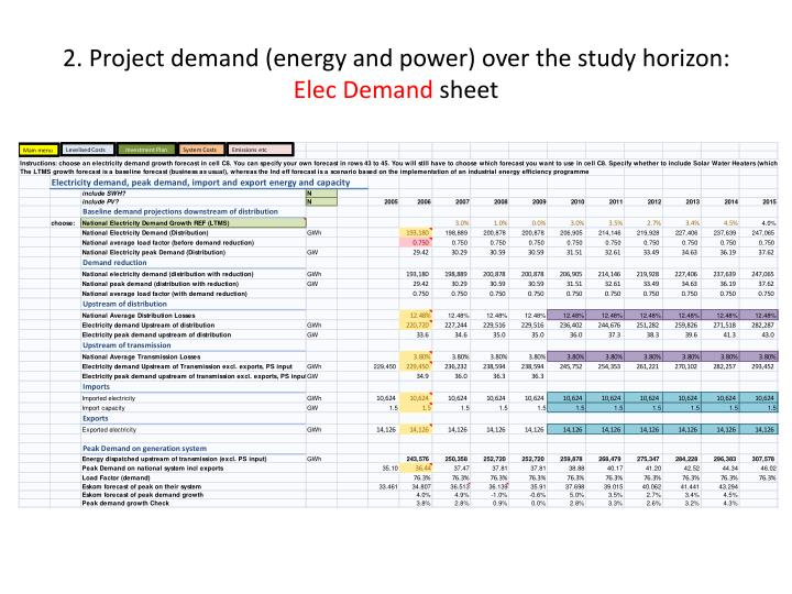 2. Project demand (energy and power) over the study horizon: